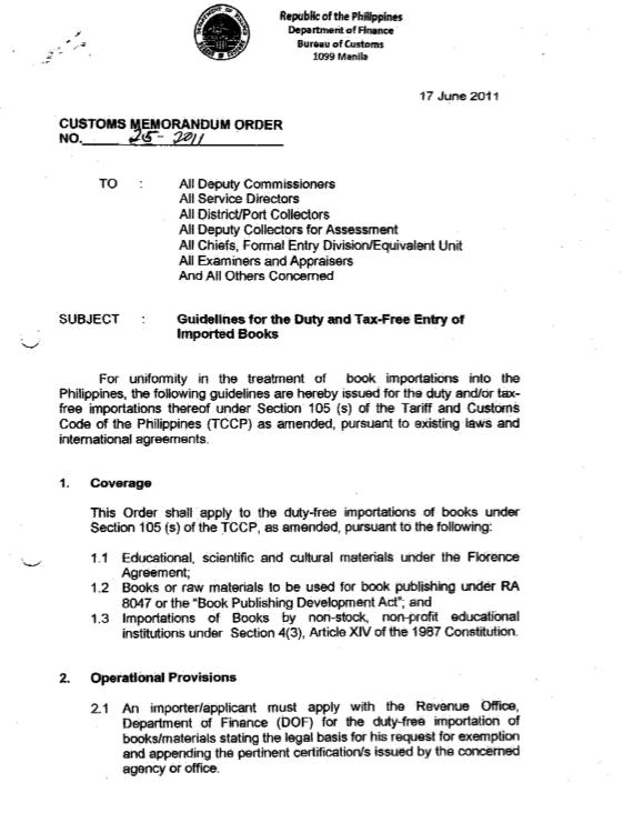 Customs Memorandum Order No 25 2011 Bahay Talinhaga